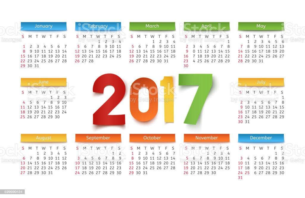 Calendar template for a year 2017. - ilustración de arte vectorial
