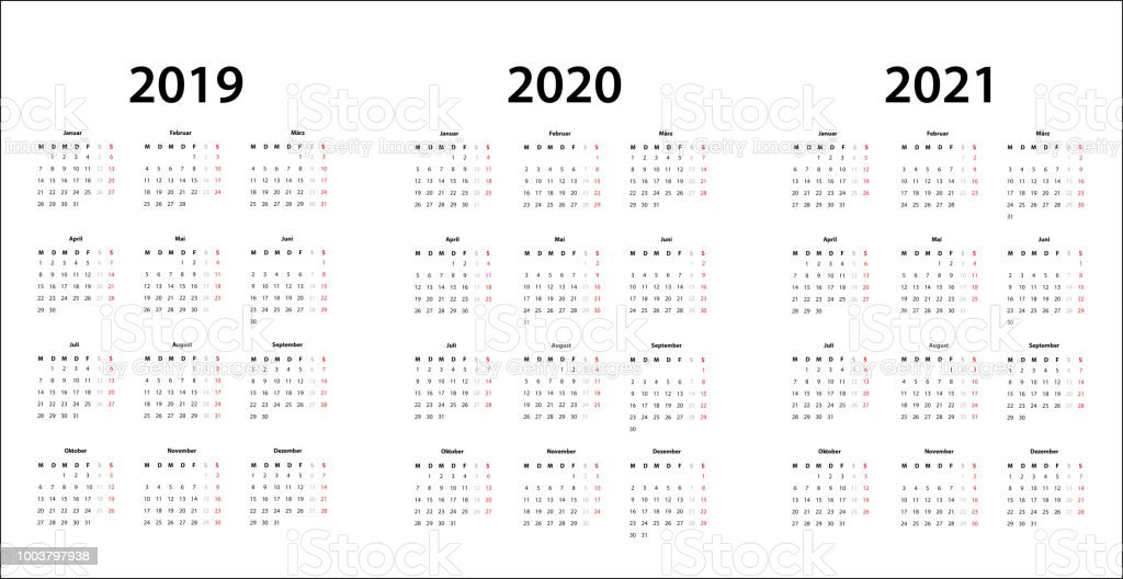 Calendrier 2019 Free.2019 2020 2021 Calendar Template German Stock Illustration