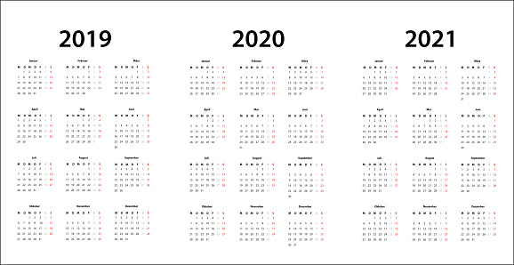 2019 2020 2021 Calendar Template German Stock Illustration