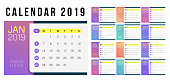 2019 Calendar template. Minimal Gradient Colorful Simple elegant desk calendar design template