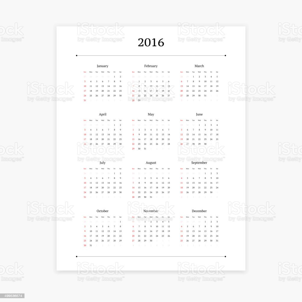 2016 calendar template royalty free 2016 calendar template stock vector art more images
