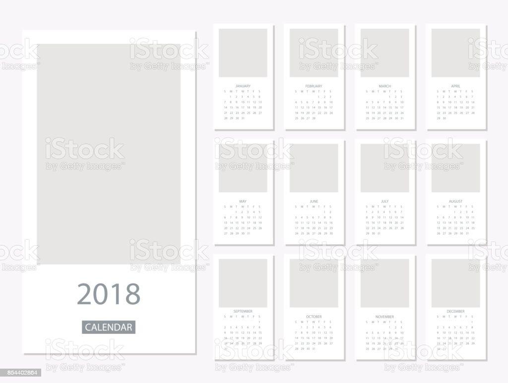 2018 Calendar template vector art illustration