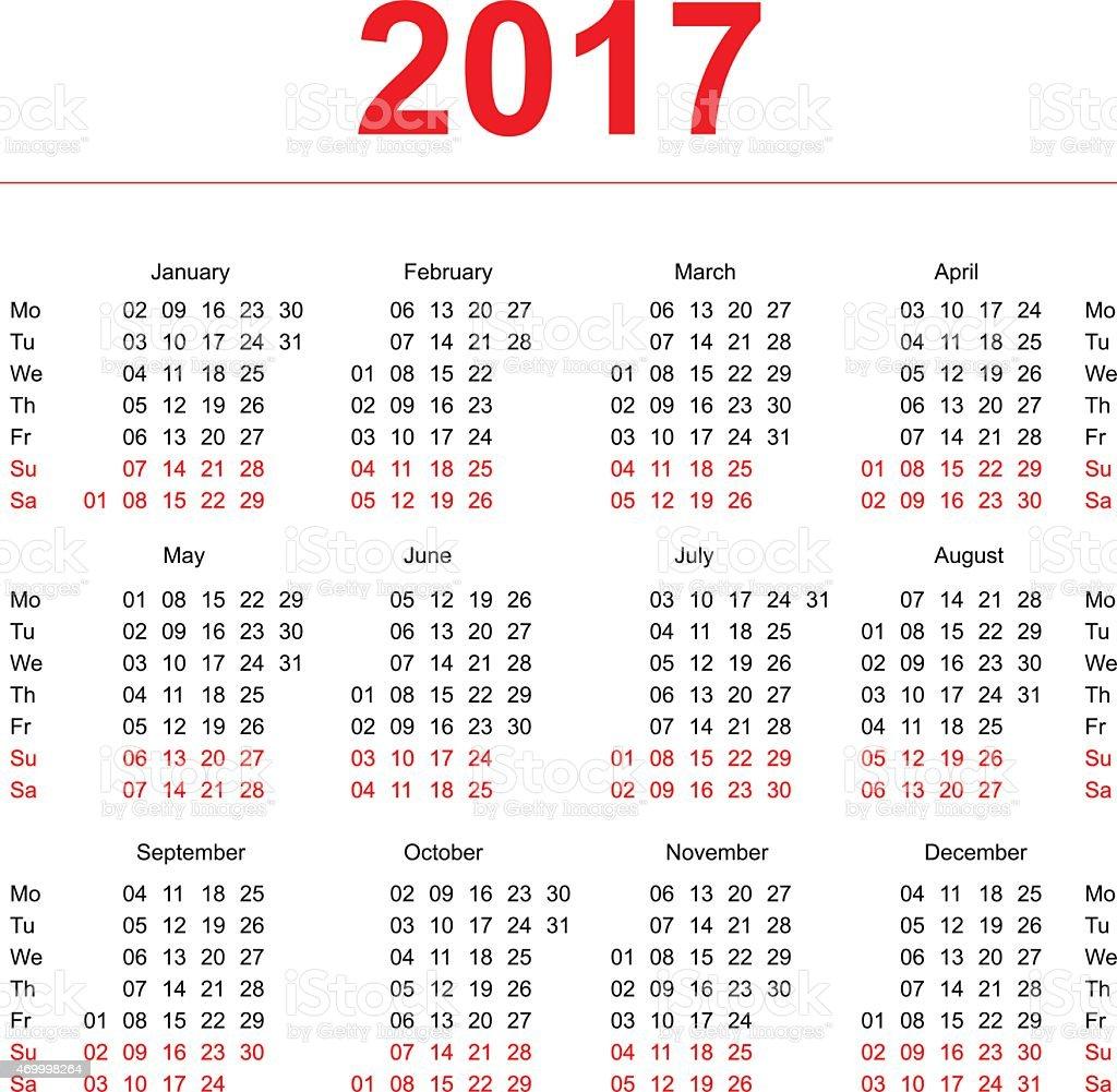 2017kalender Vorlage Vertikale Wochen Erster Tag Montag Stock Vektor ...