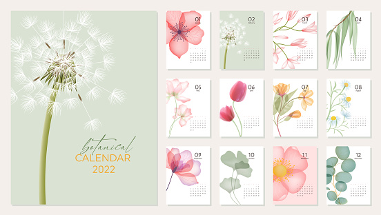 2022 calendar template with abstract flowers and 12 pages for each month
