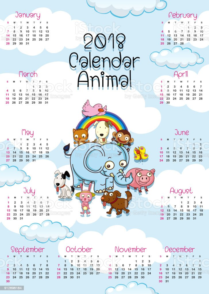 2018 calendar template with cute animals royalty free 2018 calendar template with cute animals stock