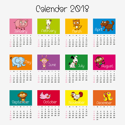 Calendar Template With Different Animals Stock Illustration