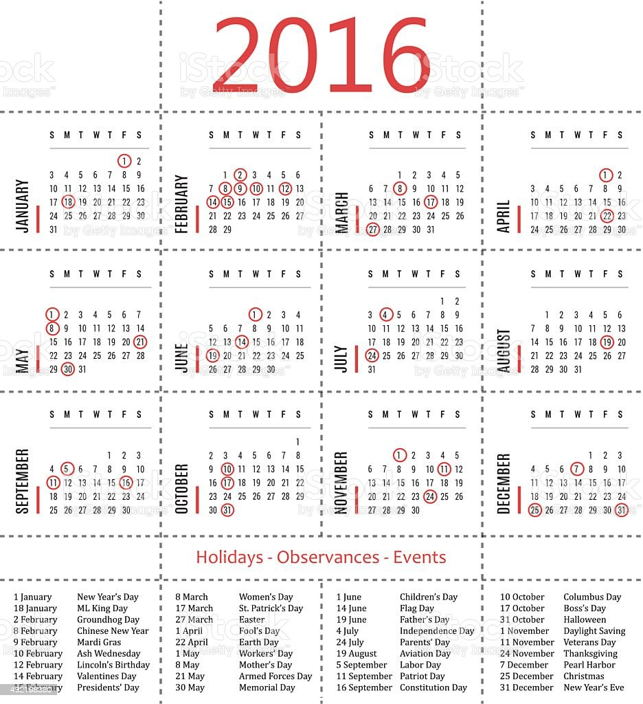 Calendar template with holidays, observances and events 2016 vector art illustration