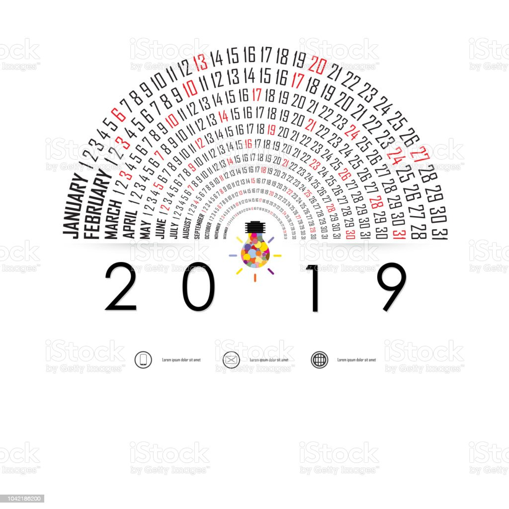 2019 Calendar Template With Idea Light Bulb Iconsemicircle Calendarcalendar 2019 Set Of 12 Monthsyearly Calendar Vector Design Stationery