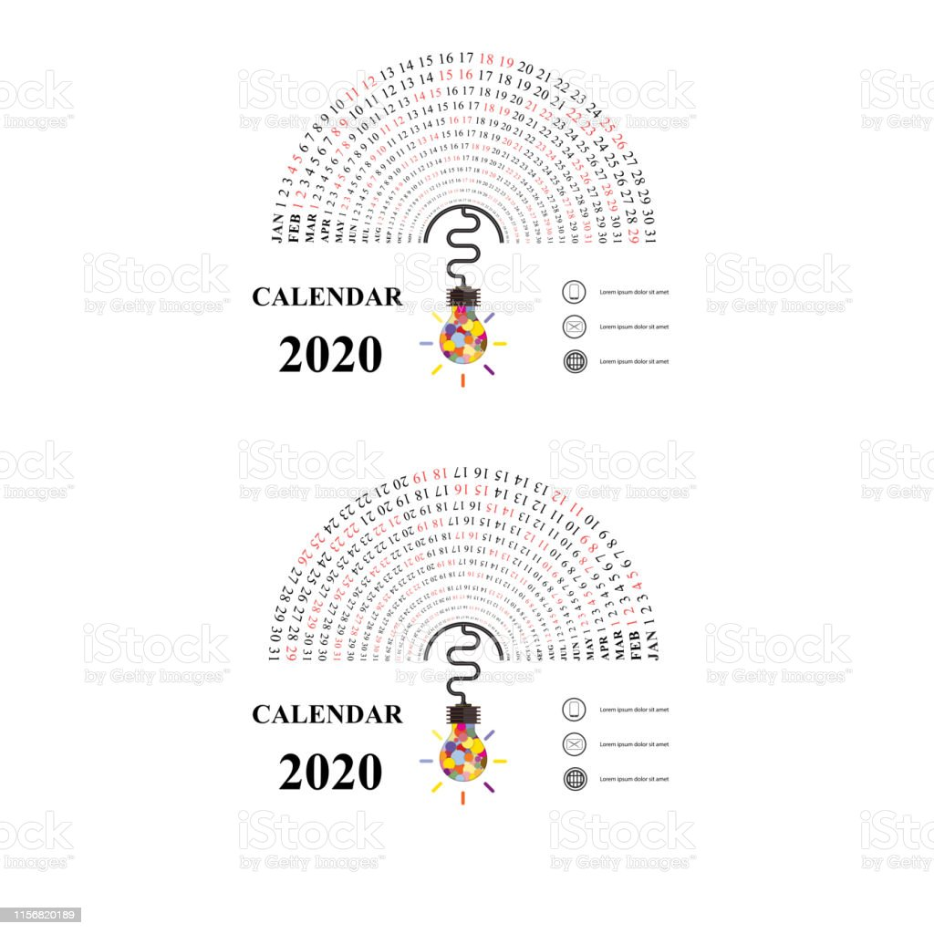 Calendrier Semi.2020 Calendrier Template Avec Icone Dampoule Didee