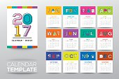 2017 calendar vector template with modern line graphic style, week starts from Sunday