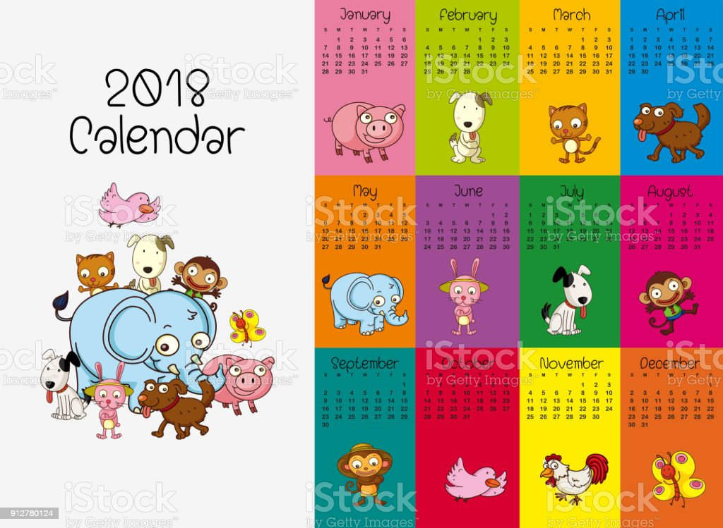 2018 calendar template with wild animals vector art illustration