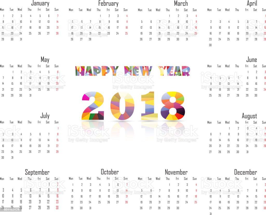 2018 Templatecalendar De Calendario Para El Año 2018 Plantilla De ...