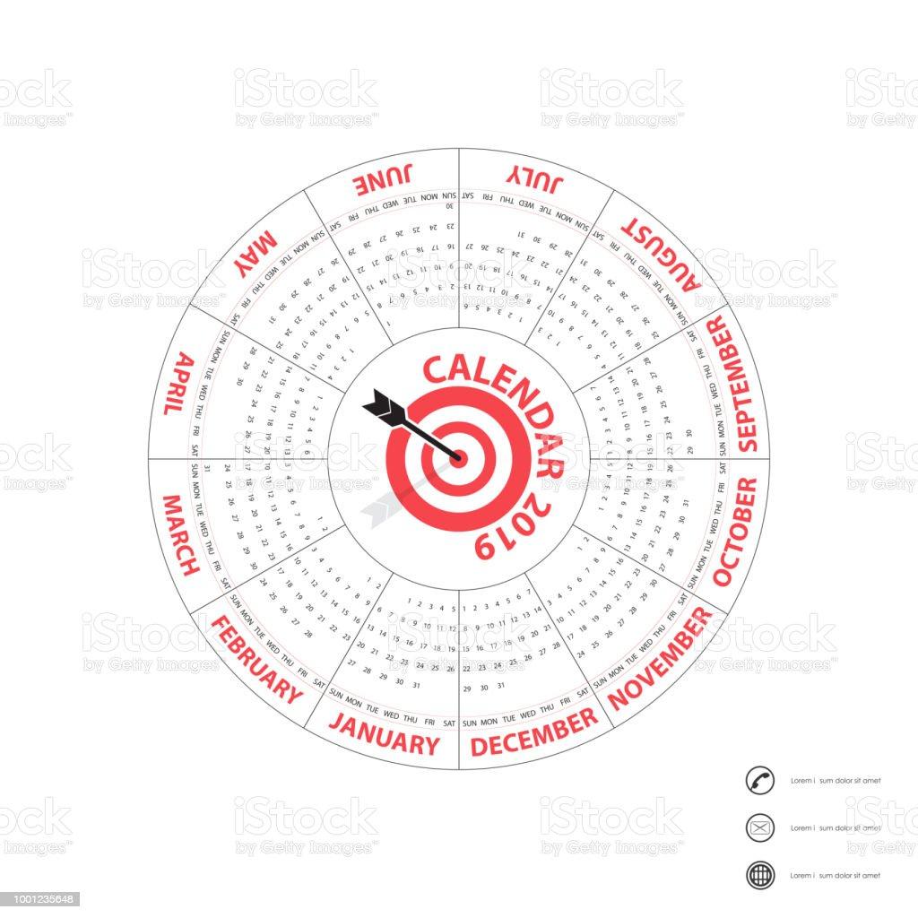 2019 templatecircle カレンダー カレンダー テンプレートですカレンダー
