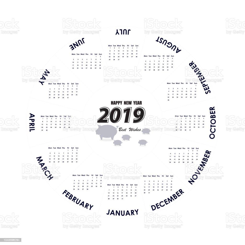 2019 calendar templatecircle calendar templatecalendar 2019 set of 12 monthsstarts