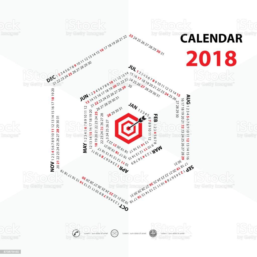 2018 Templatehexagon Calendario Calendario De Forma Plantilla De ...