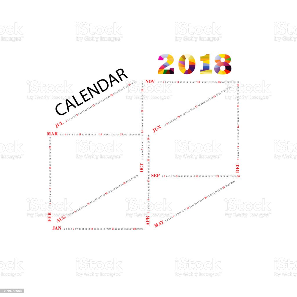 2018 Calendar Templatesquare Shape Calendaryearly Calendar