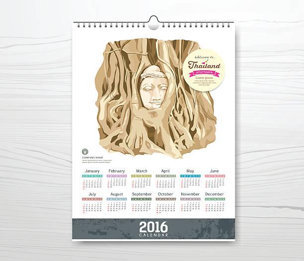 kalender die wurzeln um die head of buddha bild - ayutthaya stock-grafiken, -clipart, -cartoons und -symbole