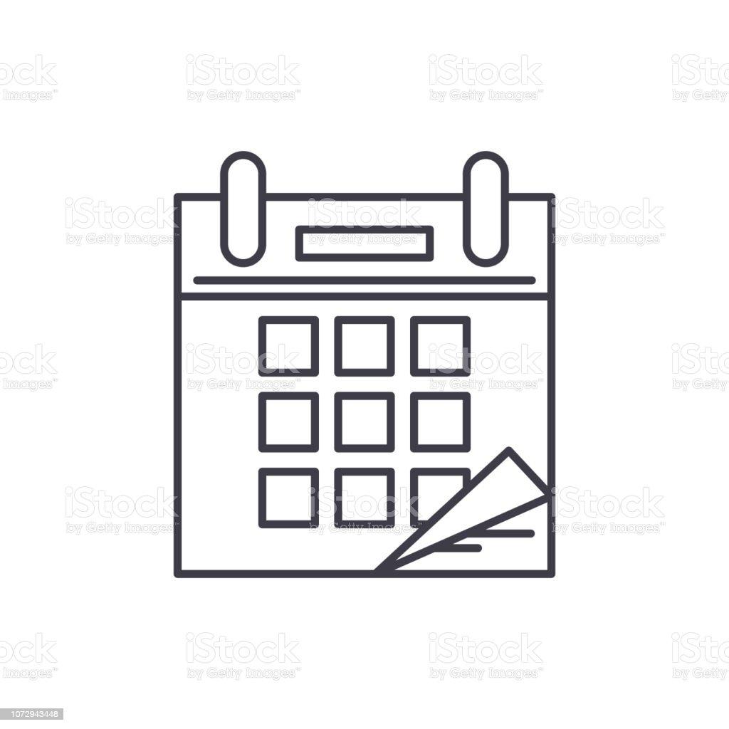 Calendar time line icon concept. Calendar time vector linear...