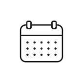 Calendar, Time Line Icon. Editable Stroke. Pixel Perfect. For Mobile and Web.