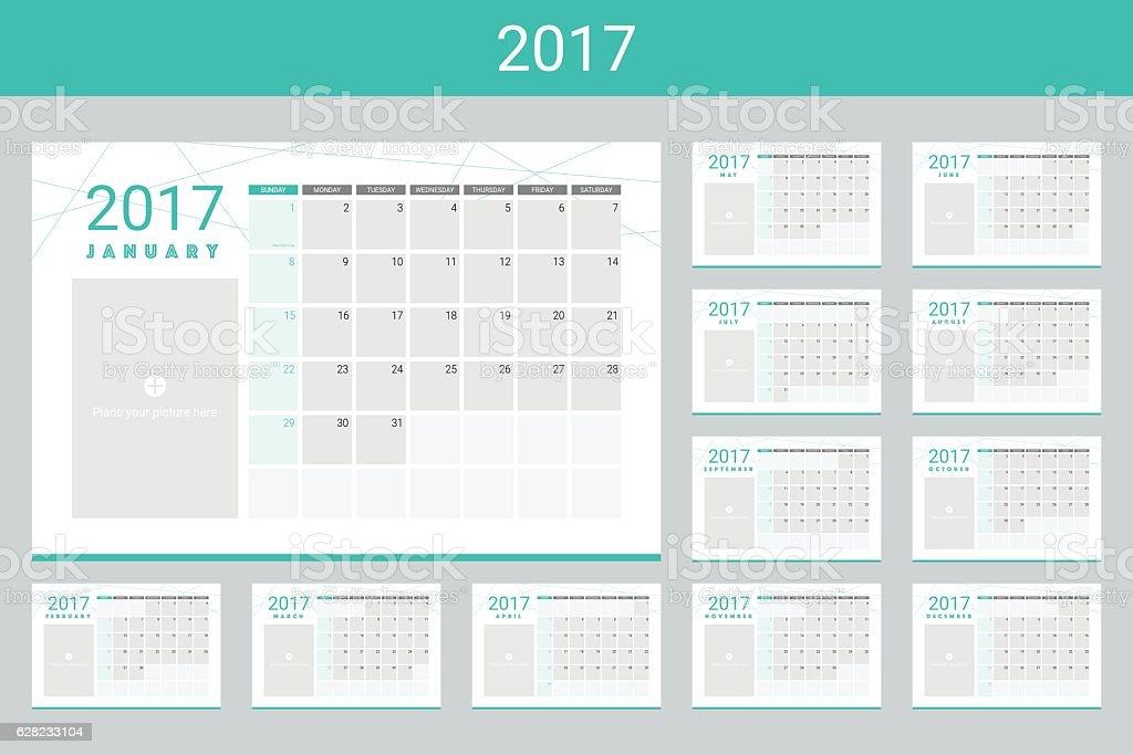 2017 calendar twelve month set - ilustração de arte em vetor