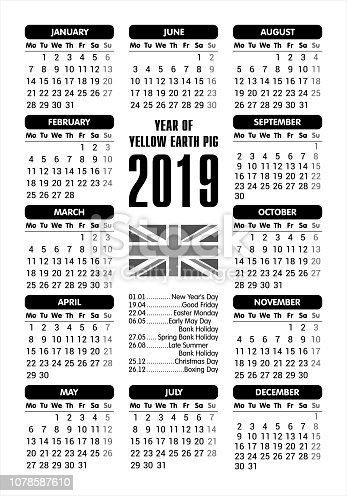 istock 2019 Calendar - UK flag and holidays / starting Monday / vector illustration 1078587610