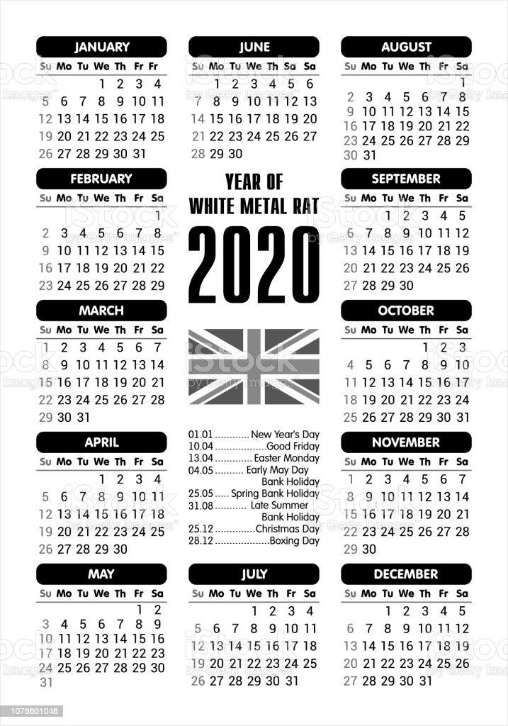 af0b1aff313 Calendrier 2020 - drapeau UK et jours fériés   commençant dimanche   vector  illustration calendrier 2020