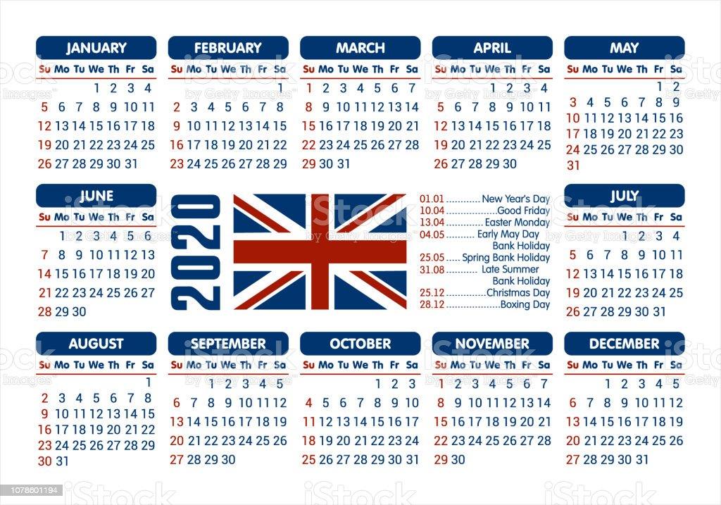 Easter 2020 Calendar.2020 Calendar Uk Flag And Holidays Starting Sunday Vector