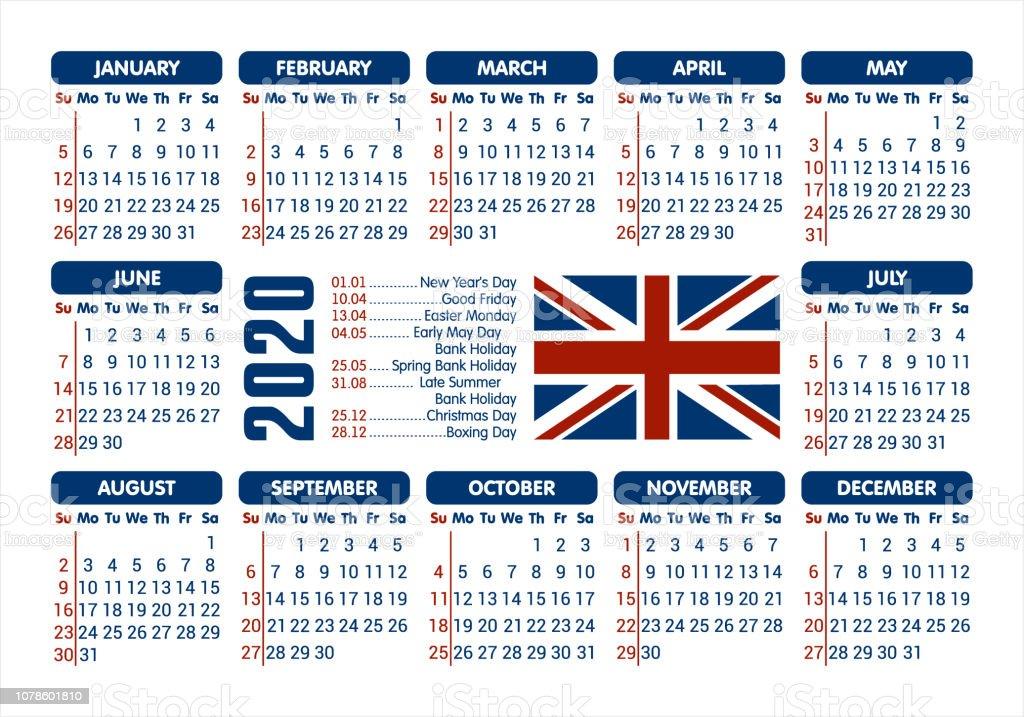 Calendrier Jours Feries.Calendrier 2020 Drapeau Uk Et Jours Feries Commencant