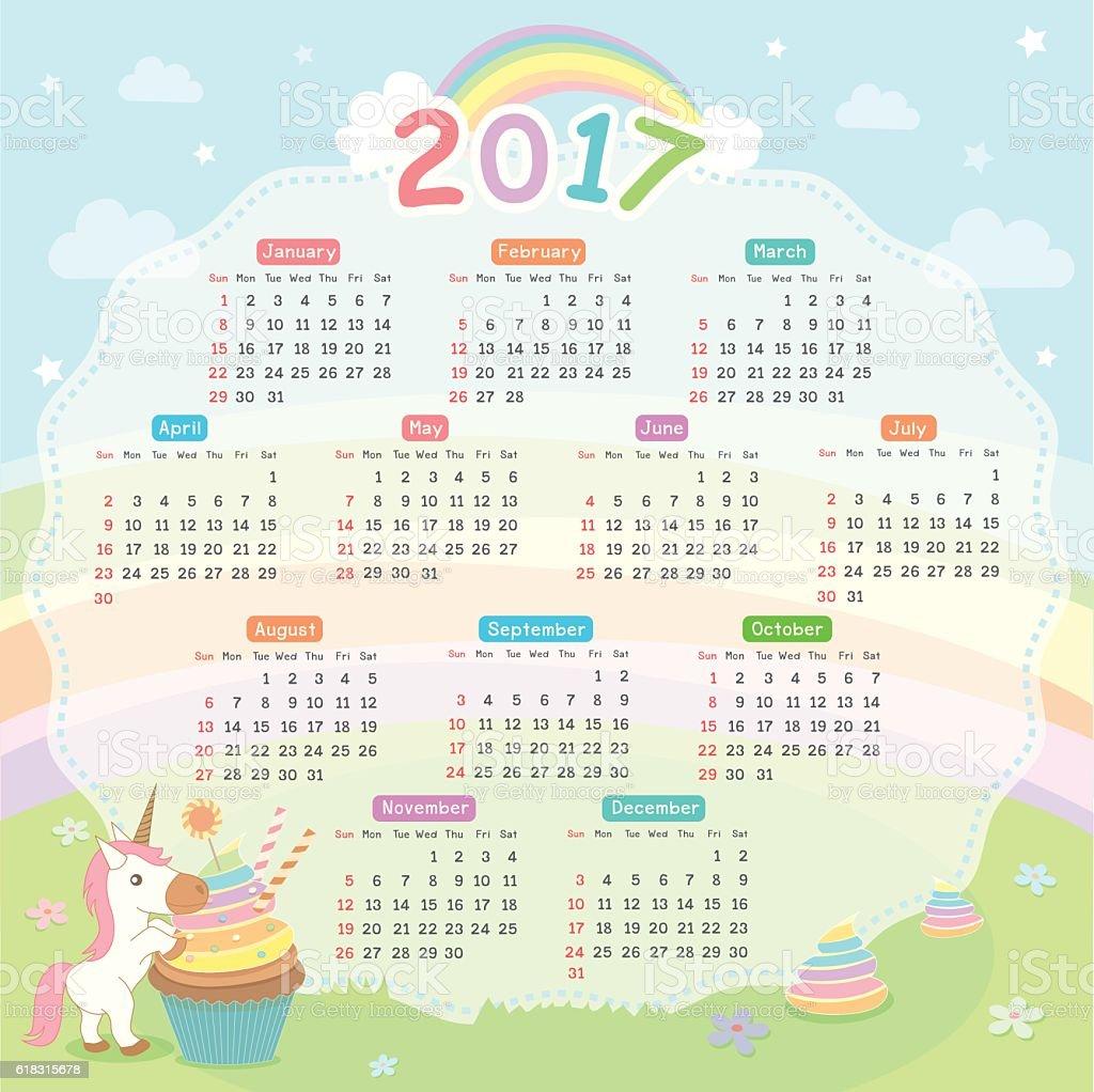 Calendar Unicorn 2017 stock vector art 618315678 | iStock