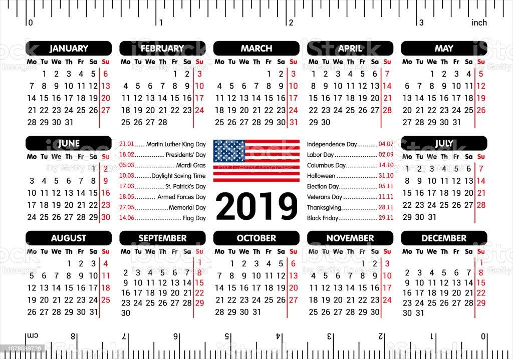 Calendrier Election 2019.Calendrier 2019 Drapeau Usa Et Jours Feries Souverain A