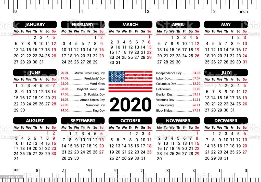 Calendrier 2020 Jours Fériés.Calendrier 2020 Drapeau Usa Et Jours Feries Souverain A
