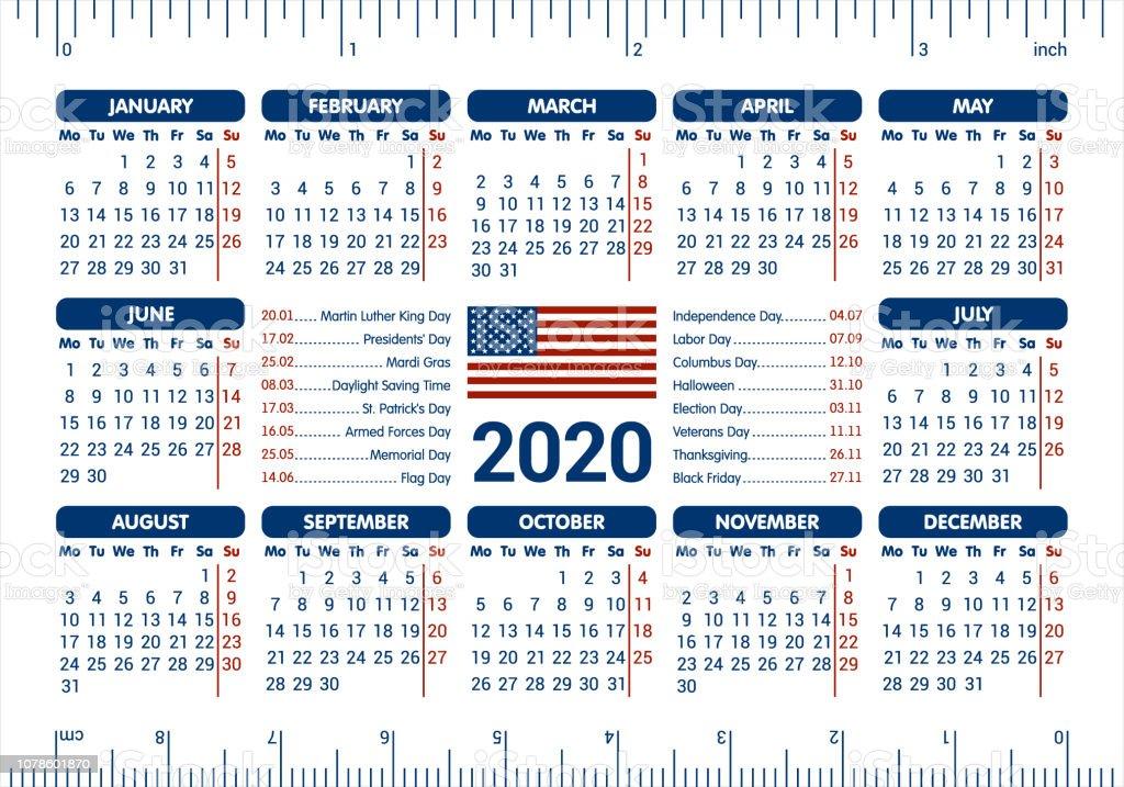 Calendrier 2020 Avec Jour Ferie.Calendrier 2020 Drapeau Usa Et Jours Feries Souverain A