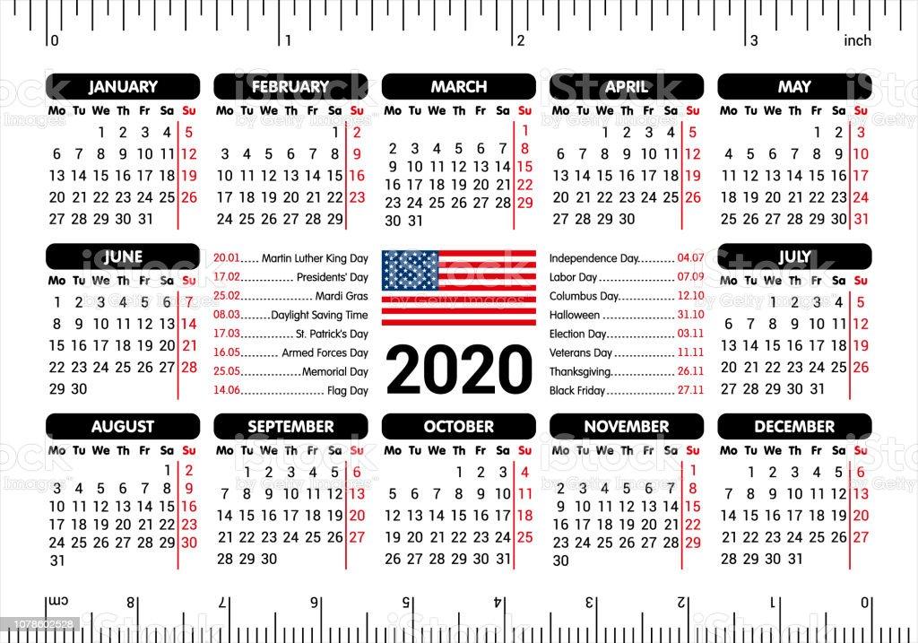 American Holiday Calendar 2020 2020 Calendar Usa Flag And Holidays Ruler Starting Monday Vector