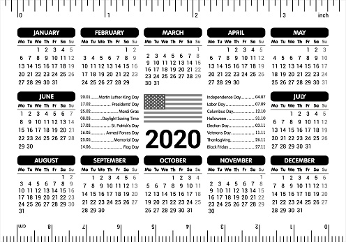 2020 Calendar Usa Flag And Holidays Ruler Starting Monday