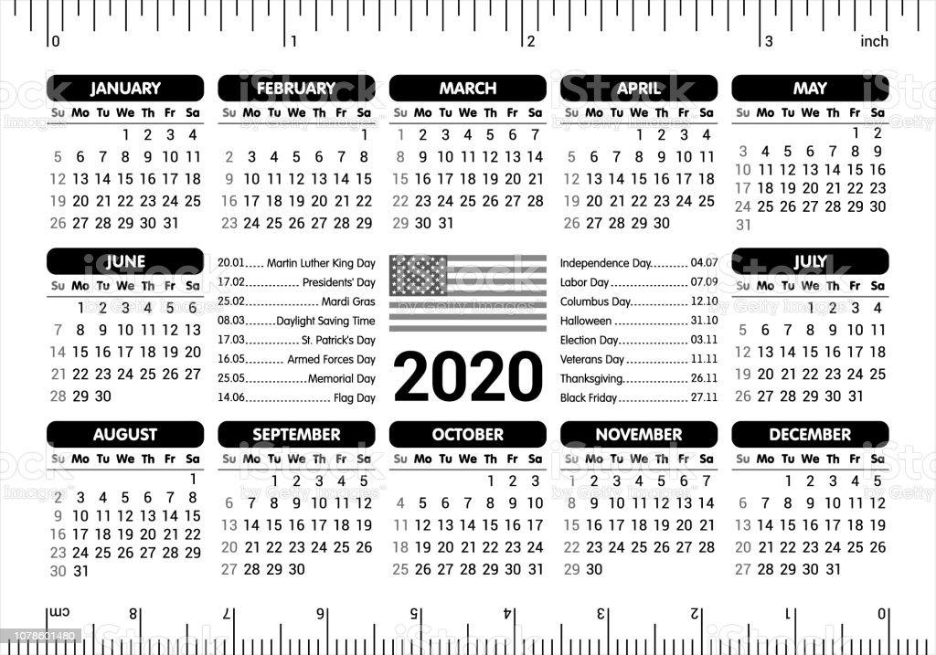 Calendario 2020 Editable Illustrator.2020 Calendar Usa Flag And Holidays Ruler Starting Sunday