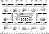 2020 Calendar - USA flag and holidays, ruler, starting Sunday - vector illustration