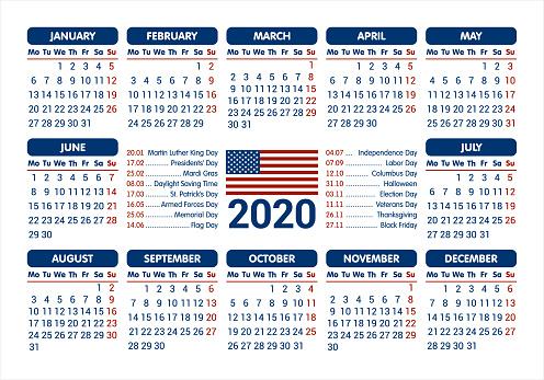 Calendrier 2020 Drapeau Usa Et Jours Fériés à Partir De Lundi Vector Illustration Vecteurs Libres De Droits Et Plus Dimages Vectorielles De 2020