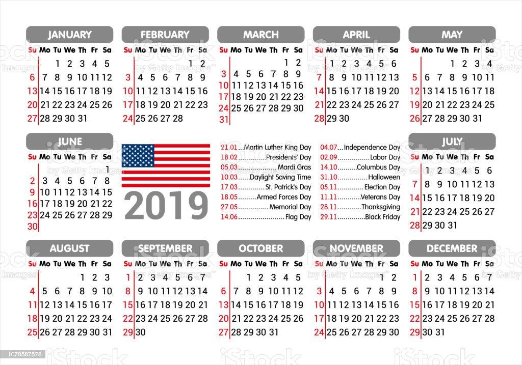 Calendrier Election 2019.Calendrier 2019 Drapeau Usa Et Jours Feries Commencant