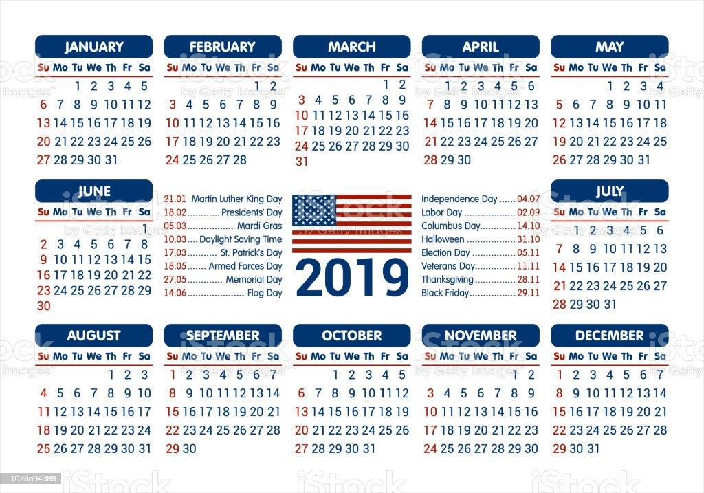 352170e841f Calendrier 2019 - drapeau USA et jours fériés   commençant dimanche    vector illustration calendrier 2019