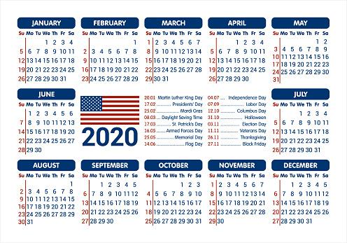 Calendrier 2020 Avec Jour Ferie.Calendrier 2020 Drapeau Usa Et Jours Feries Commencant Dimanche Vector Illustration Vecteurs Libres De Droits Et Plus D Images Vectorielles De 2020