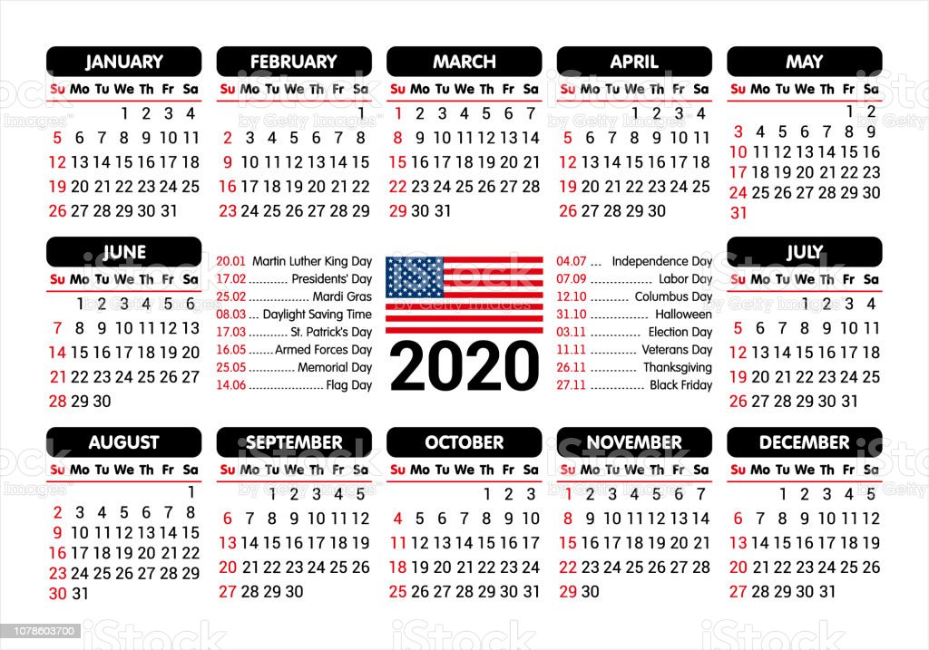 Calendario 2020 Com Feriados Para Impressao.Vetores De Calendario De 2020 Eua Bandeira E Feriados Comecando Domingo Ilustracao Do Vetor E Mais Imagens De 2020