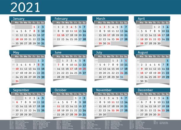 2021 calendar USA planner pocket business year vector 2021 year layout calendar annual planner pocket business holiday calendars stock illustrations