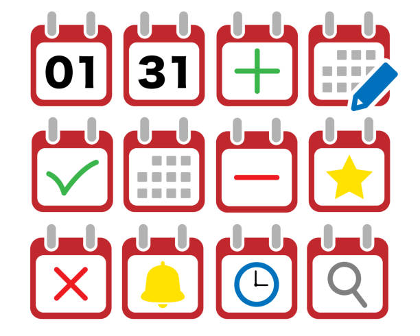 Calendar vector icon illustration set Illustrations that can be used in various fields almanac stock illustrations