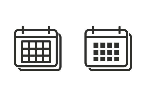 vektor kalendersymbol. - monatskalender stock-grafiken, -clipart, -cartoons und -symbole
