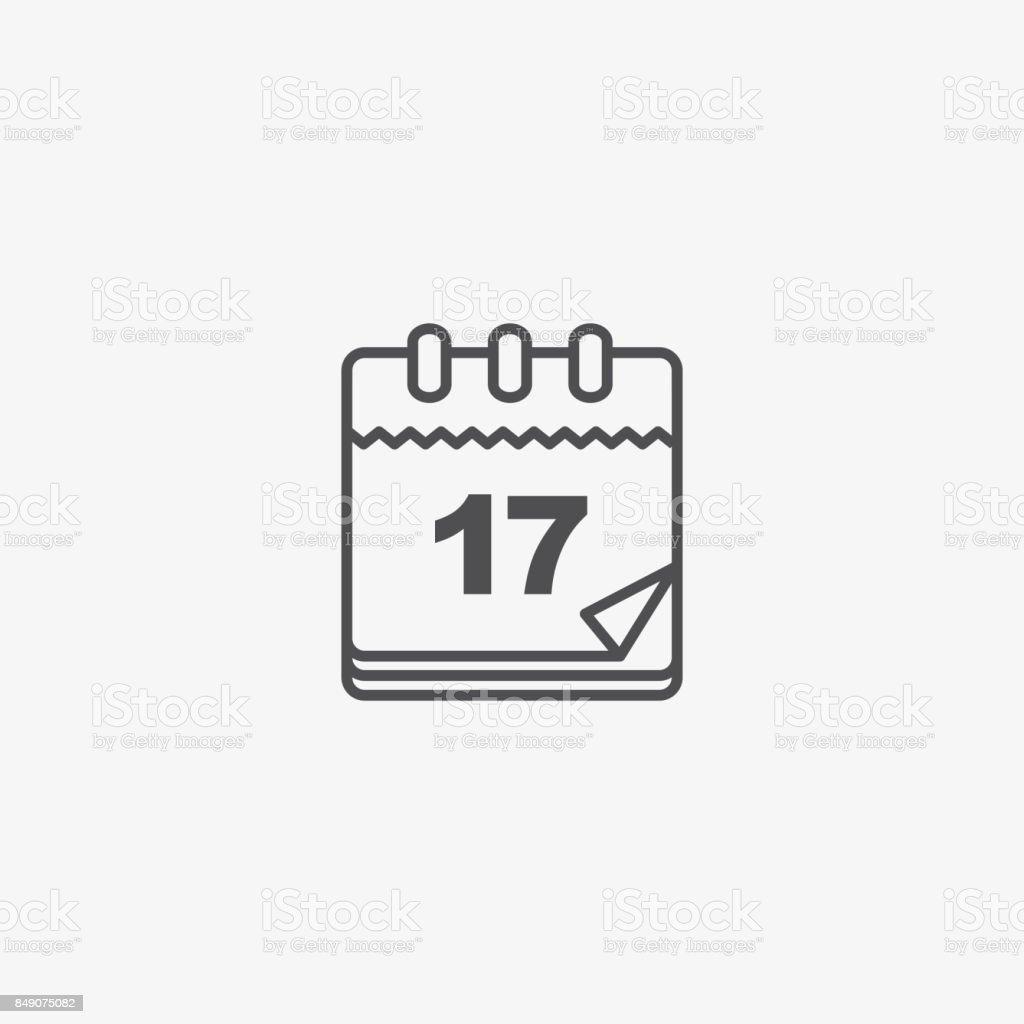 Icono de Vector de calendario, calendario papel Vintage. Pictograma del vector organizador Personal. - ilustración de arte vectorial