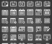 Calendar Vector Icons on Black Chalkboard. This royalty free vector illustration features Calendar Vector Icons on Black Chalkboard. Each 100% vector design element can be used independently or as part of this royalty free graphic set. The blackboard has a slight texture.