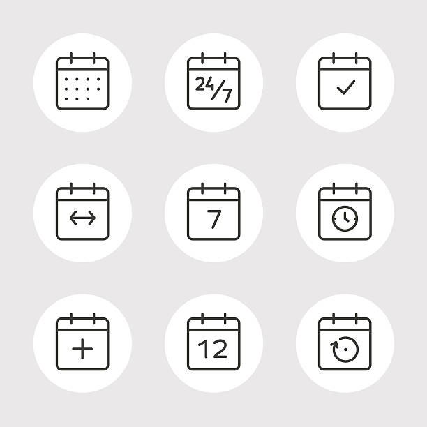 calendar vector icons set - 주 stock illustrations