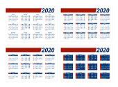 2020 Calendar Grid