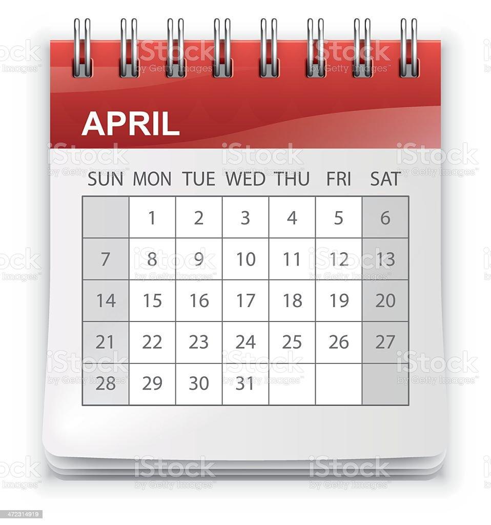 Calendar (Sunday-Saturday) royalty-free stock vector art