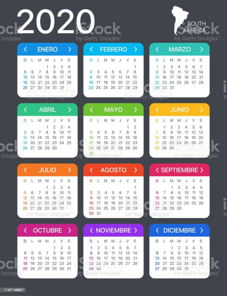 Calendario Agosto 2020 Espana.Ilustracion De 2020 Calendario Ilustracion Vectorial Version